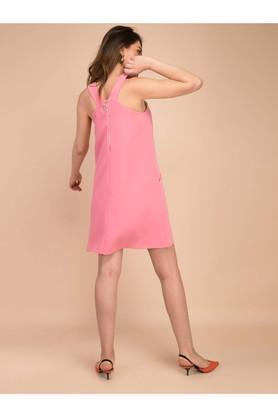 Womens Regular Fit V Neck Solid Knee Length Dress