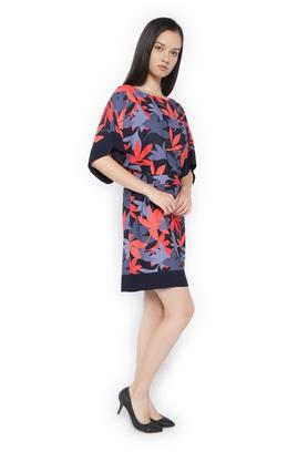 Womens Boat Neck Printed Knee Length Dress