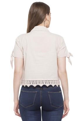 Womens Notched Lapel Slub Shirt