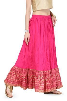 Women Pure Cotton Gold Skirt