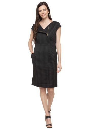 Womens Round Neck Stripe Knee Length Dress