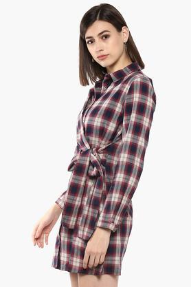 Womens Checked Wrap Dress