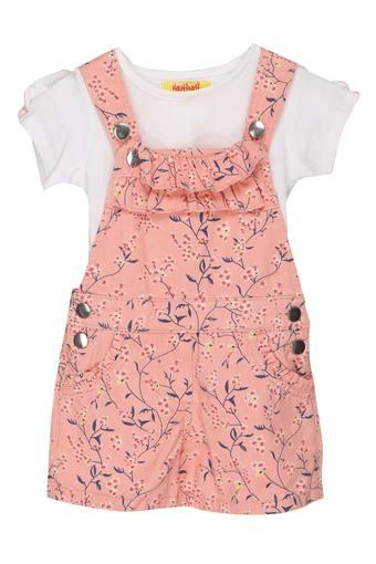 Girls Round Neck Printed Dungarees and Solid Top