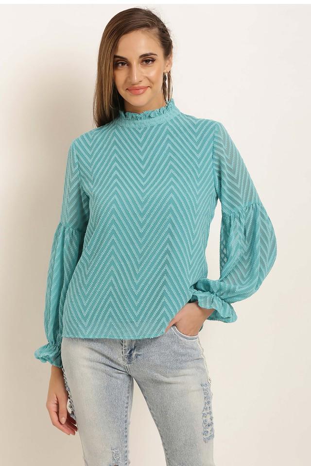 Womens Ruffled Collar Stripe Top
