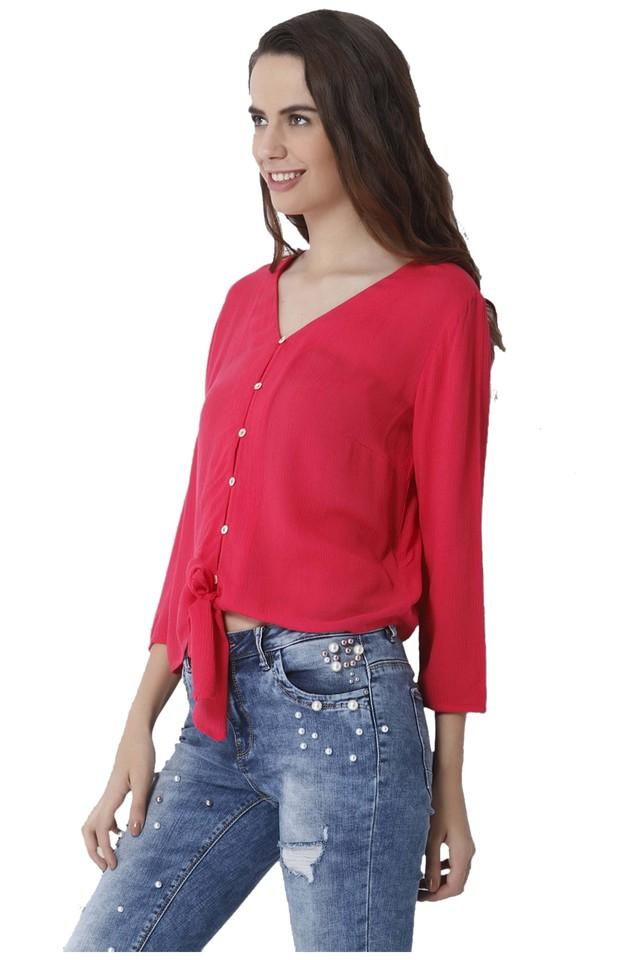 Womens V- Neck Solid Top