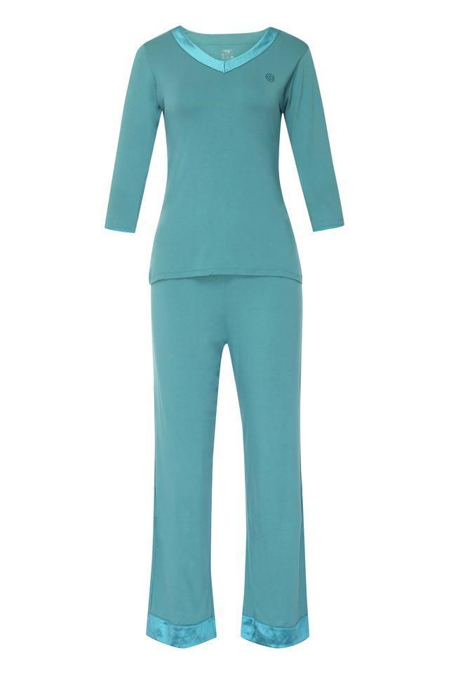 Womens V Neck Solid Top and Pyjama Set