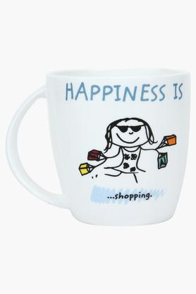Unisex Round Printed Happiness is Shopping Mug
