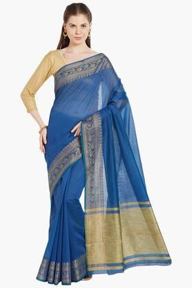 JASHN Womens Ethnic Zari Border Tissue Saree