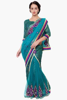 DEMARCA Womens Net Mirror Worked Saree