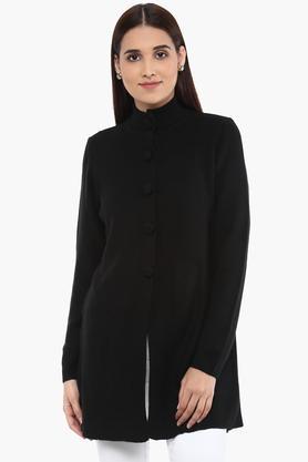 APSLEYWomens High Neck Knitted Pattern Cardigan
