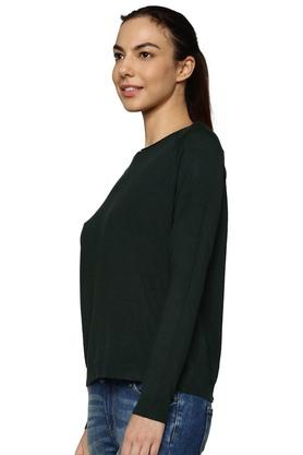Womens Round Neck Solid Cutout Lace Pullover