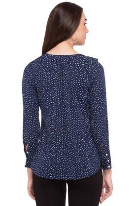 Womens V-Neck Dot Pattern Top