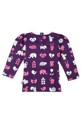 Girls Round Neck Printed and Solid Top - Pack Of 2