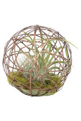 Artificial Plants in Metallic Grid Rattan Geo Ball