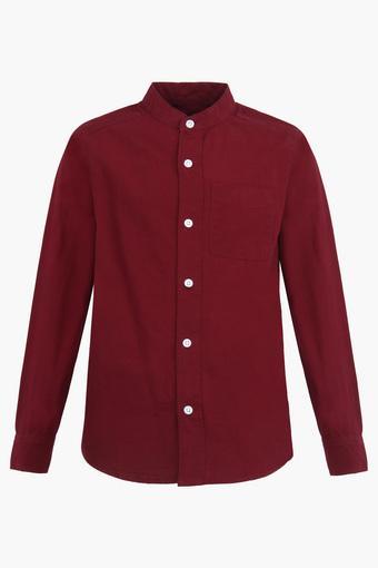 Boys Mandarin Neck Solid Shirt