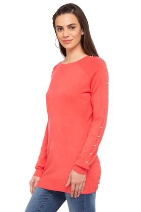 Womens Round Neck Solid Sweater