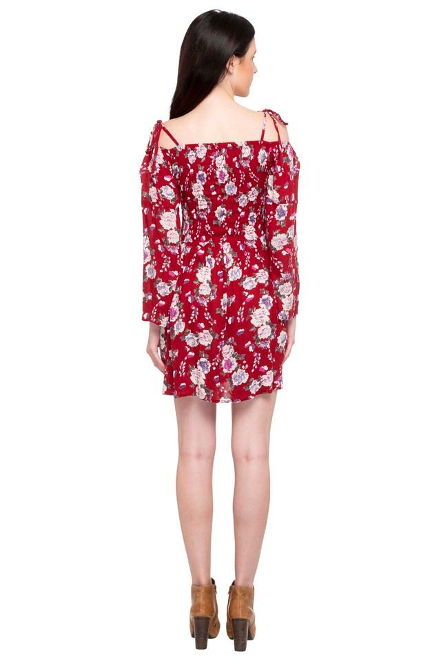 Womens Off Shoulder Neck Floral Print Flared Dress