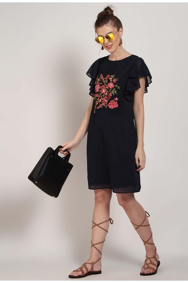 Womens Round Neck Embroidered Shift Dress