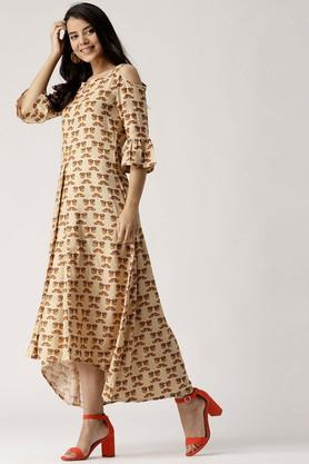 Womens Notched Neck Printed High Low Dress