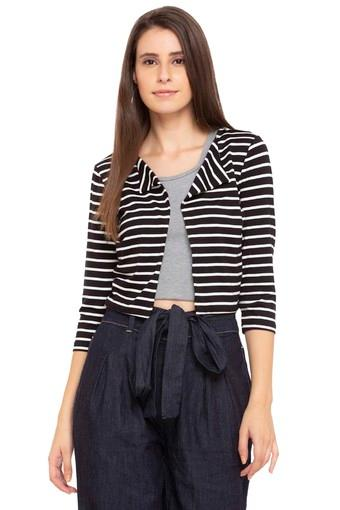 Womens Open Front Striped Shrug