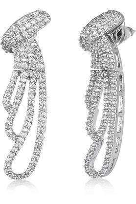 Womens Layered Stone Studded Drop Earrings