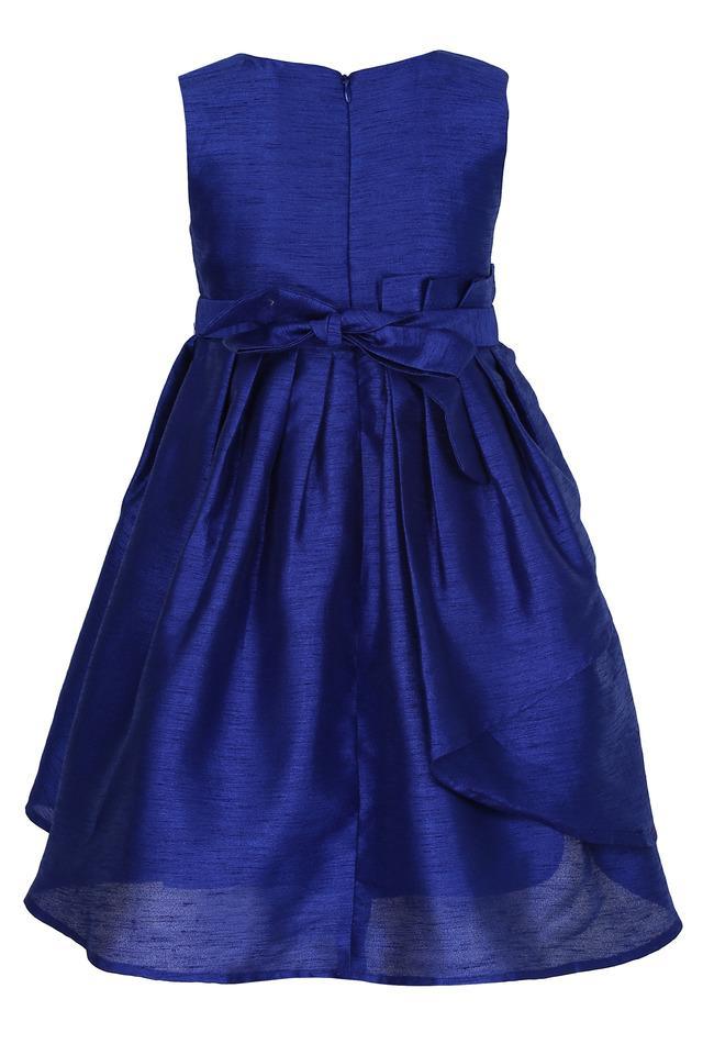 Girls Round Neck Slub A-Line Dress with Bow Hair Clip