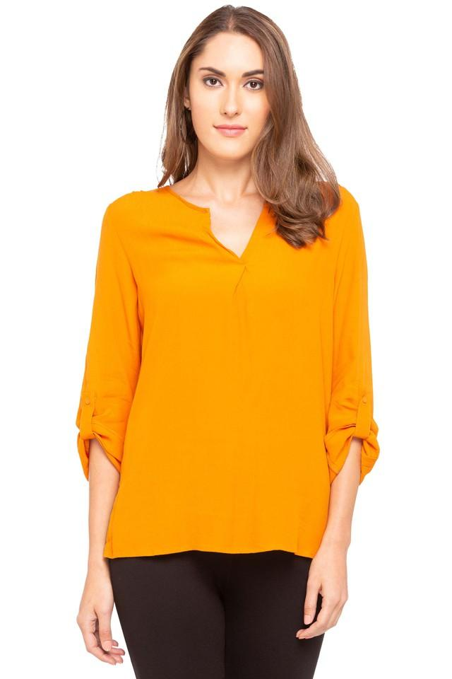 Womens Notched Neck Solid Top