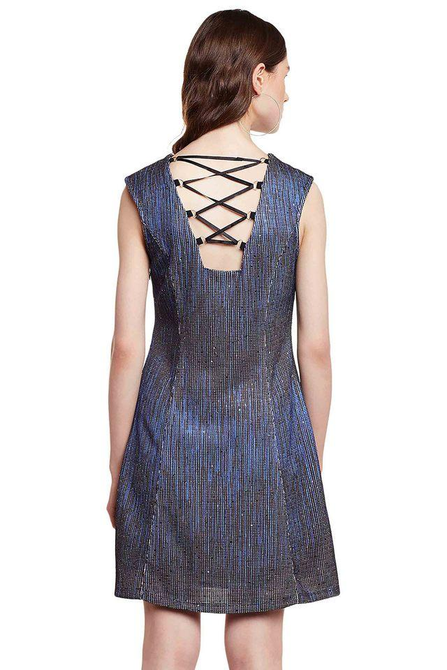 Womens Round Neck Embellished A-Line Dress