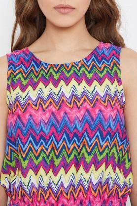 Womens Round Neck Aztec Stripe Jumpsuit