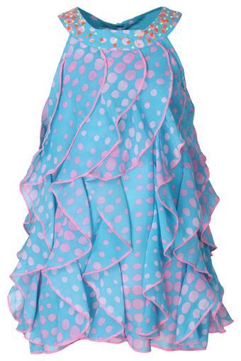 Girls Round Neck Polka Dot A-Line Dress
