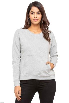 Womens Round Neck Slub Sweatshirt