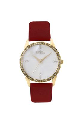 HORRA Womens Ruby Series Pearl White Dial Analog Watch - PB817FLMP61