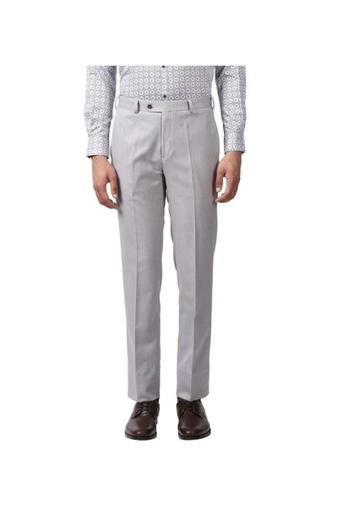 Mens 4 Pocket Regular Fit Slub Formal Trousers