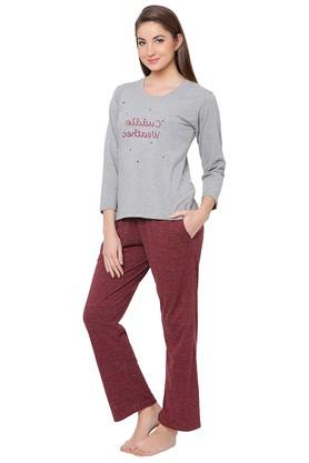 Womens Round Neck Graphic Print Top and Slub Pyjama Set
