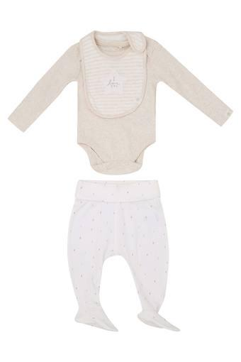 Unisex Round Neck Solid Top Pants and Bib Set