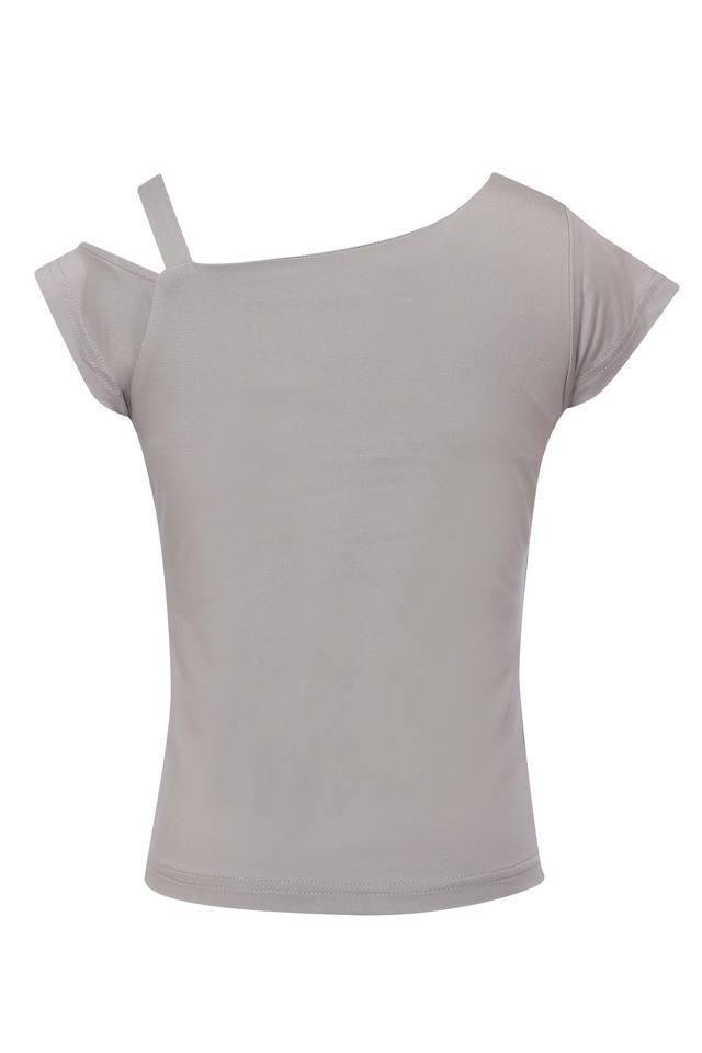 Girls One Shoulder Neck Graphic Print Tee