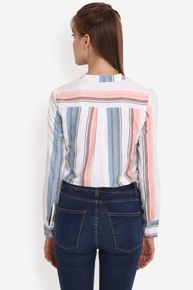 Womens Mandarin Neck Striped Shirt