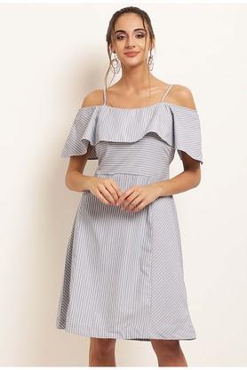Womens Spaghetti Neck Striped A-Line Dress