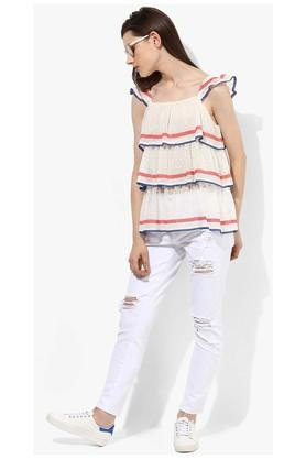 Womens Square Neck Embroidered Top