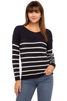 FEMINA FLAUNTWomens Round Neck Striped Sweater