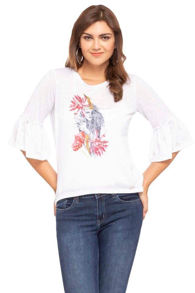 Womens Round Neck Printed Embellished Top