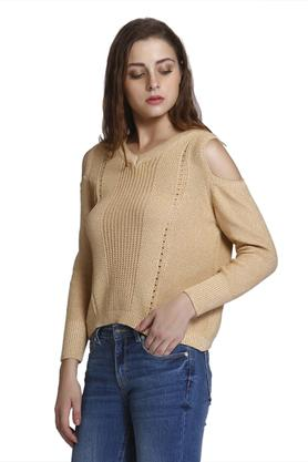 Womens Cold Shoulder Knitted Pattern Pullover