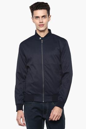 Mens Band Collar Solid Jacket