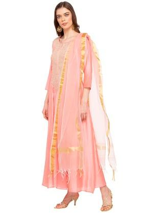 Womens Notched Collar Embroidered Gown with Dupatta