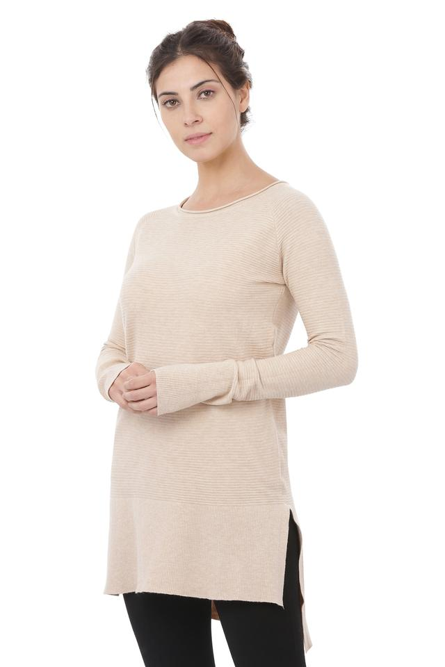 Womens Round Neck Self Printed High Low Sweater