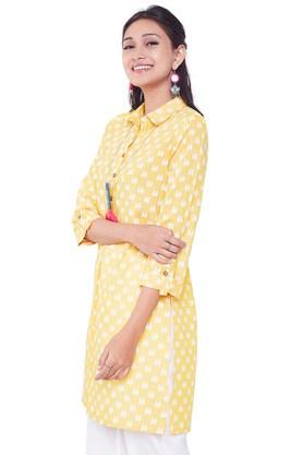 GLOBAL DESI Womens Collared Printed Tunic