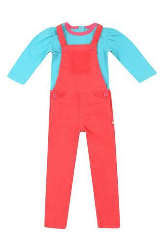 Girls Regular Fit Round Neck Solid Top and Dungarees Set