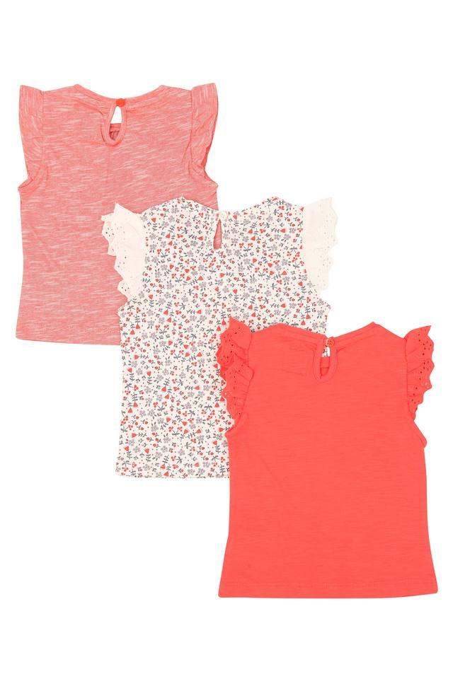 Girls Round Neck Floral Print and Slub Top - Pack of 3