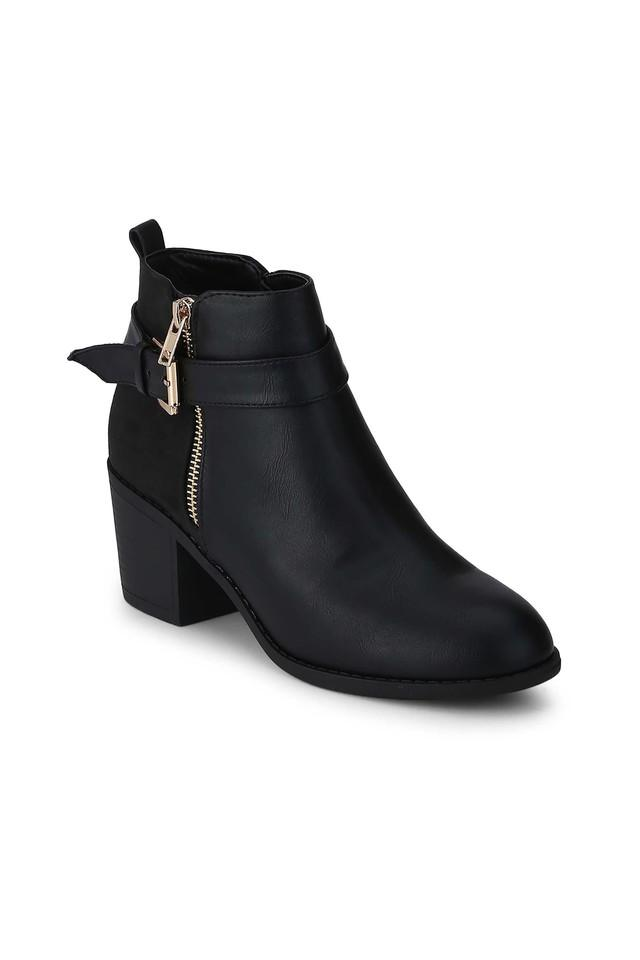 Womens Zip Closure Low Block Heeled Ankle Boots