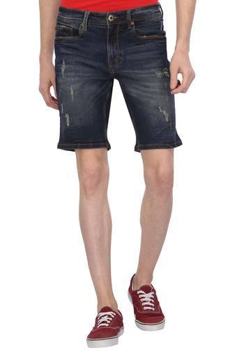 Mens 5 Pocket Distressed Shorts